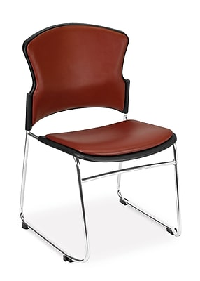 OFM™ Anti -Microbial/Anti-Bacterial Vinyl Multi-Use Stack Chair, Wine