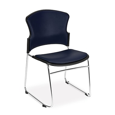 OFM™ Anti -Microbial/Anti-Bacterial Vinyl Multi-Use Stack Chair, Navy