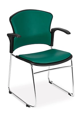 OFM™ Anti -Microbial/Anti-Bacterial Vinyl Multi-Use Stack Chair with Arms, Teal
