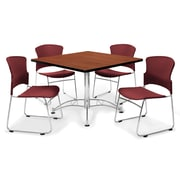 "OFM™ 42"" Square Multi-Purpose Table with 4 Chairs, Cherry and Wine"