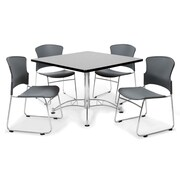 "OFM™ 36"" Square Multi-Purpose Gray Nebula Table With 4 Chairs, Gray"
