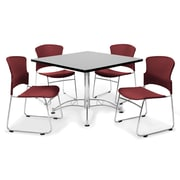 "OFM™ 36"" Square Multi-Purpose Gray Nebula Table With 4 Chairs, Wine"