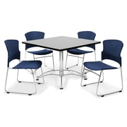 "OFM™ 36"" Square Multi-Purpose Gray Nebula Table With 4 Chairs, Navy"