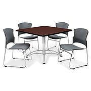 """OFM™ 42"""" Square Multi-Purpose Mahogany Table With 4 Chairs, Gray"""