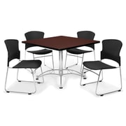 "OFM™ 36"" Square Multi-Purpose Mahogany Table With 4 Chairs, Black"