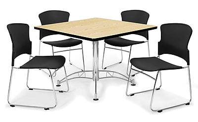 """OFM™ 36"""" Square Multi-Purpose Laminate Oak Table With 4 Chairs, Black"""