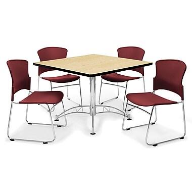 OFM – Table carrée polyvalente de 42 po en stratifié avec 4 chaises rouge vin (845123030141)