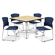 """OFM™ 36"""" Square Multi-Purpose Laminate Oak Table With 4 Chairs, Navy"""