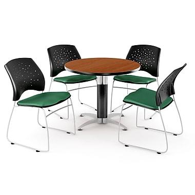 OFM – Table ronde et polyvalente de 42 po en stratifié cerisier avec 4 chaises, vert trèfle (845123041703)