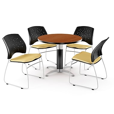 OFM – Table ronde multiusage de 42 po en cerisier avec 4 chaises, lin doré (845123041741)