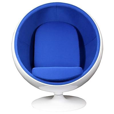 Modway Kaddur Fabric Lounge Chair, White/Blue