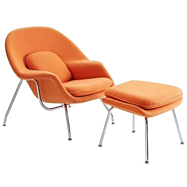 Modway W Foam Padded Lounge Chair With Ottoman, Orange