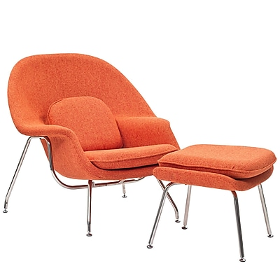 Modway W Foam Padded Lounge Chair With Ottoman, Orange Tweed