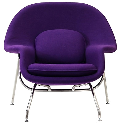 Modway W Foam Padded Lounge Chair With Ottoman, Purple