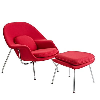 Modway W Foam Padded Lounge Chair With Ottoman, Red