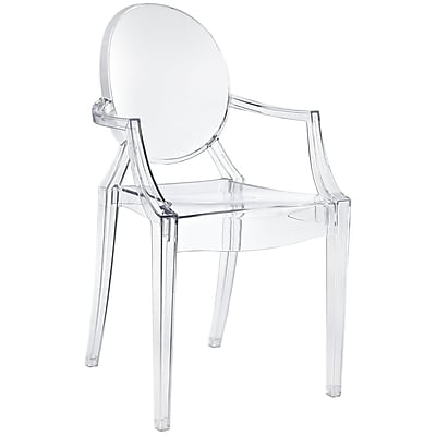 """Modway Casper 848387010492 36""""H Polycarbonate Dining Armchair, Clear"""