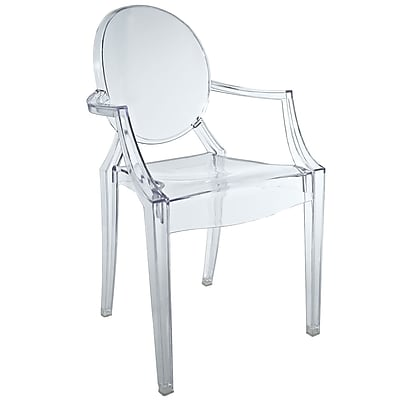 Modway Casper Polycarbonate Kids Chair, Clear