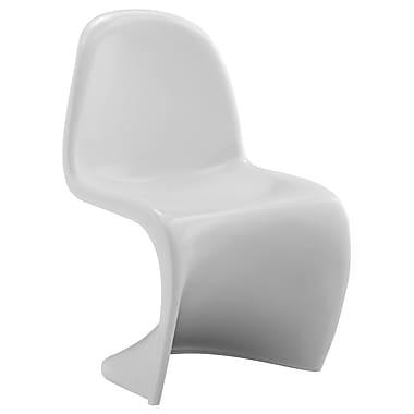 Modway Slither ABS Plastic Kids Chair, White