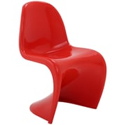 "Modway Slither 33""H ABS Plastic Dining Side Chair, Red"