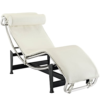 Modway Le Corbusier LC4 Leather Chaise Lounge Chair, White