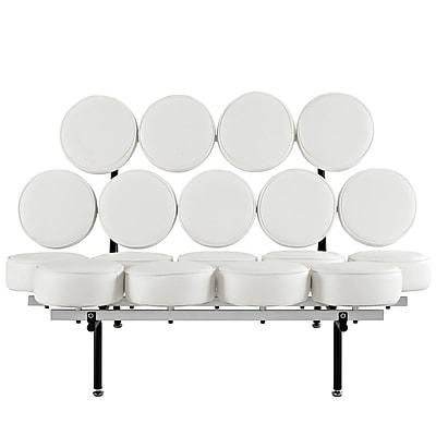 Modway Othello Genuine Leather Sofa, White