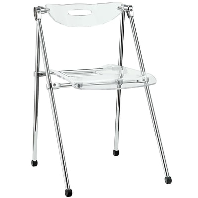 Modway Telescope Acrylic Folding Chair, Clear