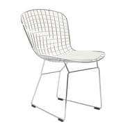 "Modway CAD 32""H Leatherette Dining Wire Side Chair, White"