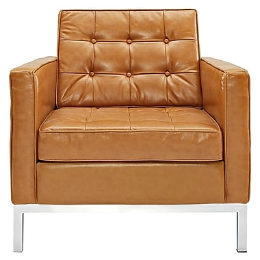 Modway Florence Style Loft Leather Armchair, Tan