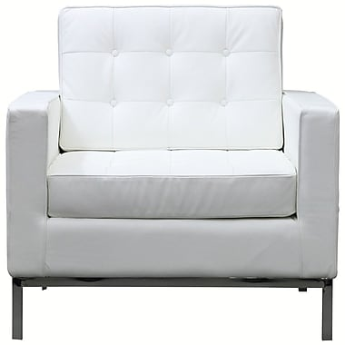 Modway Florence Style Loft Leather Armchair, White