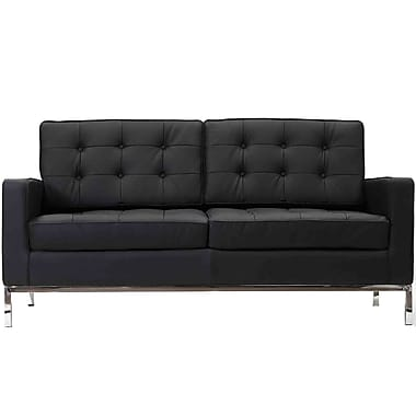 Modway Loft Leather Loveseat, Black