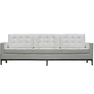 Modway Loft Leather Sofa, White