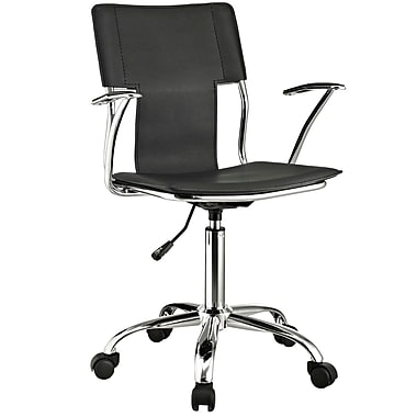 Modway EEI-198-BLK Vinyl Mid-Back Task Chair with Fixed Arms, Black