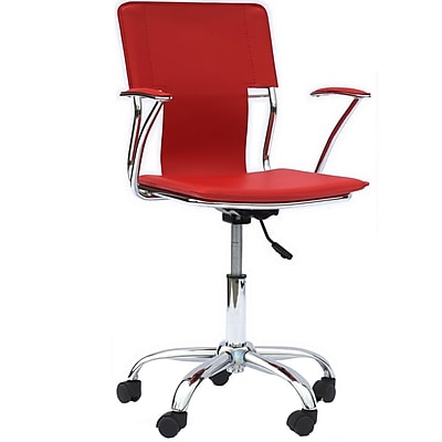Modway Mid-Back Vinyl Task Chair, Fixed Arm, Red