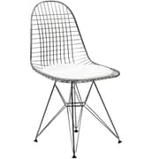 """Modway Tower 34""""H Vinyl Dining Wire Side Chair, White"""