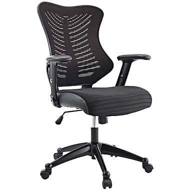 Modway Leather Executive Office Chair, Adjustable Arms, Black (848387005061)