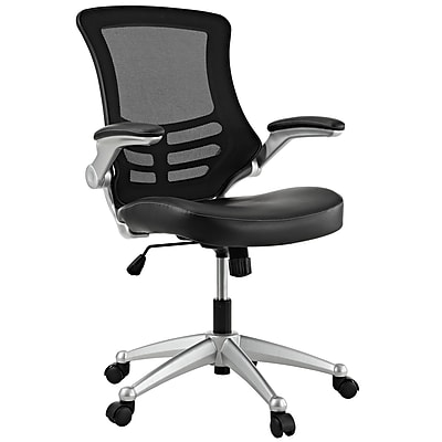 Modway EEI-210-BLK Leatherette Mid-Back Executive Chair with Adjustable Arms, Black