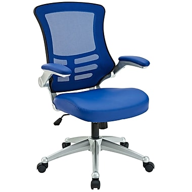 Modway Blue Mid-Back Leatherette Executive Chair, Adjustable Arms