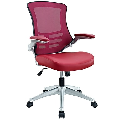 Modway EEI-210-BUR Leatherette Mid-Back Executive Chair with Adjustable Arms, Burgundy