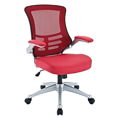 Modway Mid-Back Leatherette Office Chair, Flip-Up Arm, Red