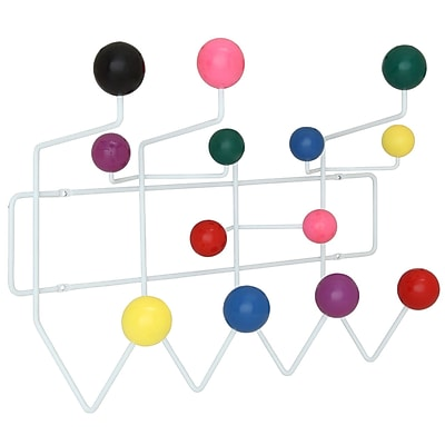 Modway Gumball Wood Balls, Powder Coated Iron Frame Multicolor Coat Rack