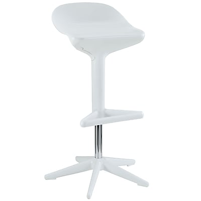 Modway Flare Plastic Bar Stool, White