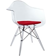 """Modway Clear 32""""H Pyramid Padded Dining Armchair, Red"""