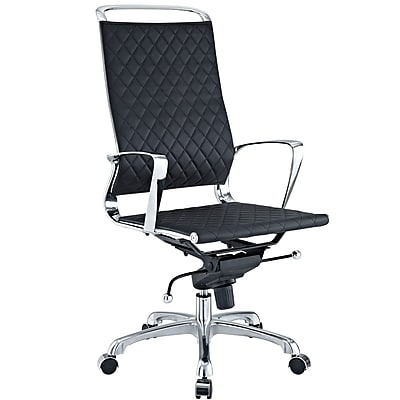 Modway Vibe Leather Executive Office Chair, Fixed Arms, Black (848387005603)