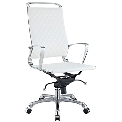 Modway Vibe Leather Executive Office Chair, Fixed Arms, White (848387005627)
