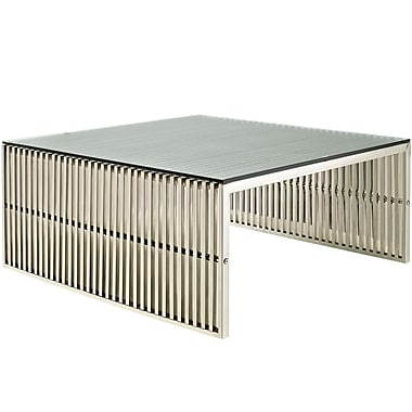 Modway Gridiron Rectangular Stainless Steel Coffee Table, Silver