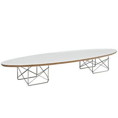 Modway Surfboard Elliptical Plywood Elongated Coffee Table, White