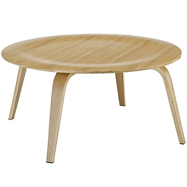 Modway Plywood Round Coffee Table, Natural