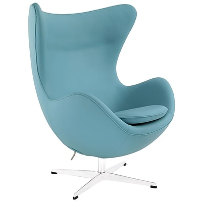 Modway Glove Aniline Leather Lounge Chair, Baby Blue