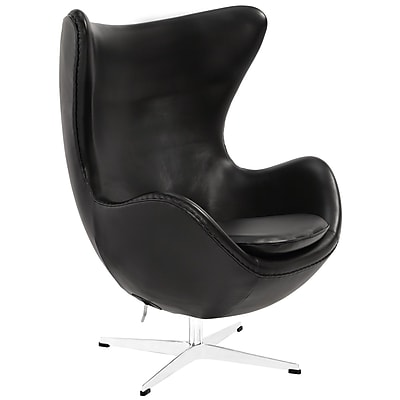 Modway Glove Aniline Leather Lounge Chair, Black