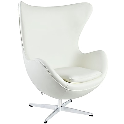 Modway Glove Aniline Leather Lounge Chair, White